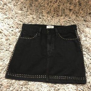 Frame black denim studded mini skirt